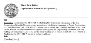 4650 Alhambra Cir., Coral Gables -- Building Site Separation
