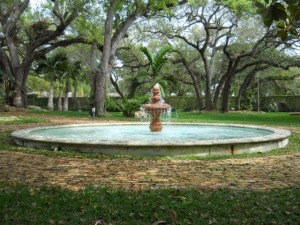 Miami Coral Gables Real Estate Photos -- Fountain in Yard