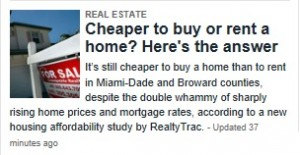 Miami Real Estate -- Herald -- Buy Versus Rent (2014-02-20)