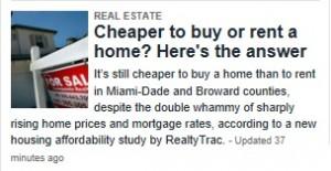 Miami Real Estate -- Herald -- Buy Versus Rent (2014-02-20)